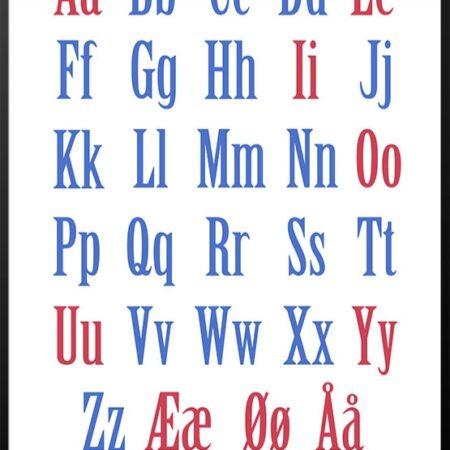 ABC plakat med røde og blå bogstaver
