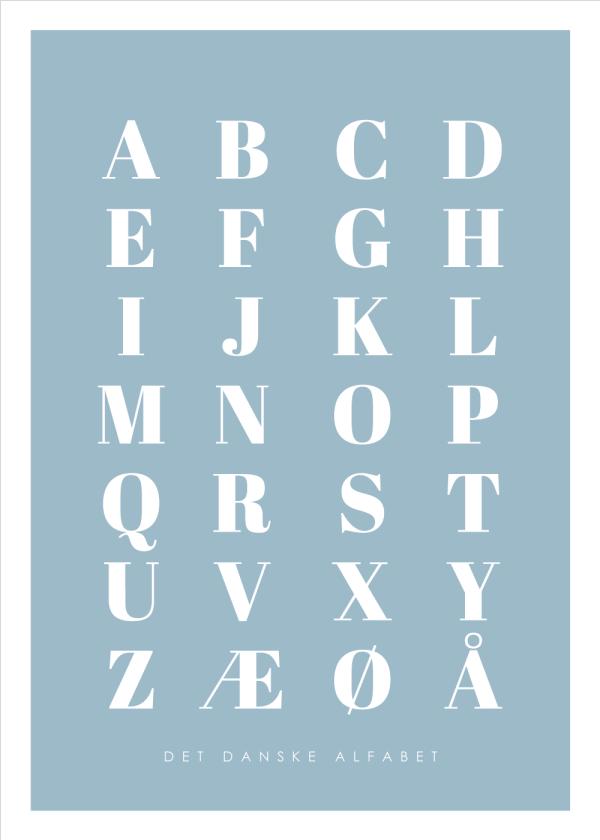 Alfabet plakat - Blå