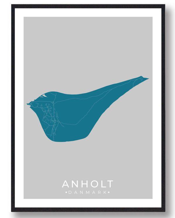 Anholt plakat - blå