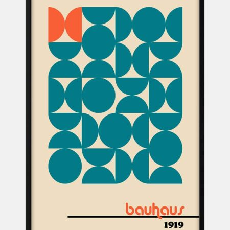 Bauhaus orange on blue plakat