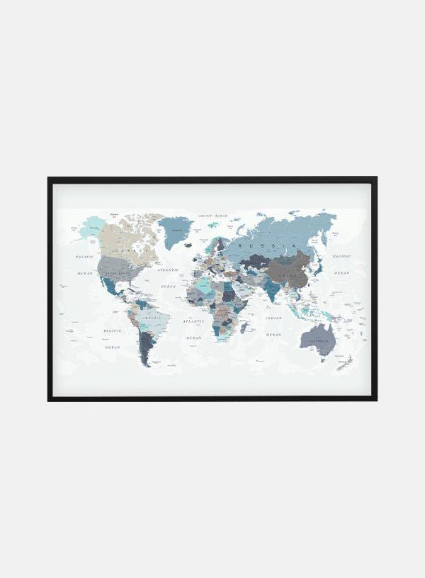 Blue Verdenskort Plakat