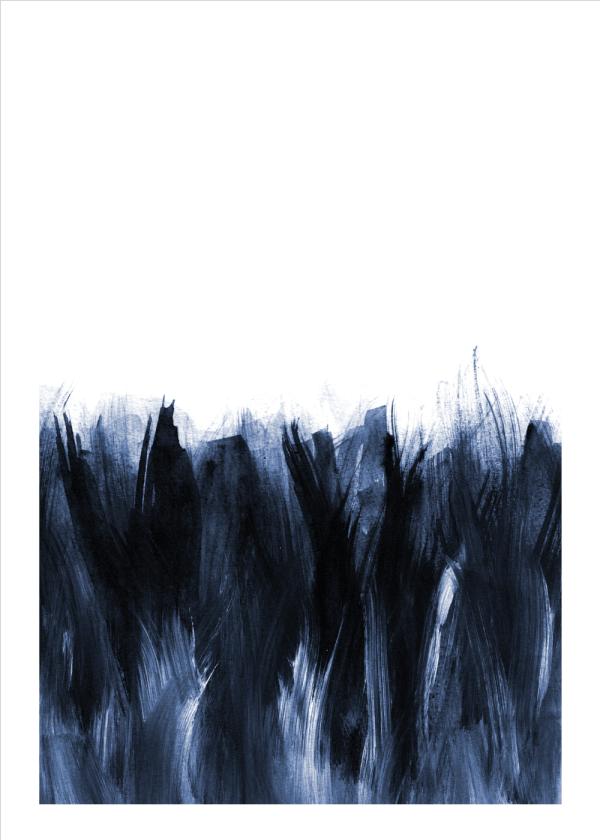 Blue brushstrokes plakat