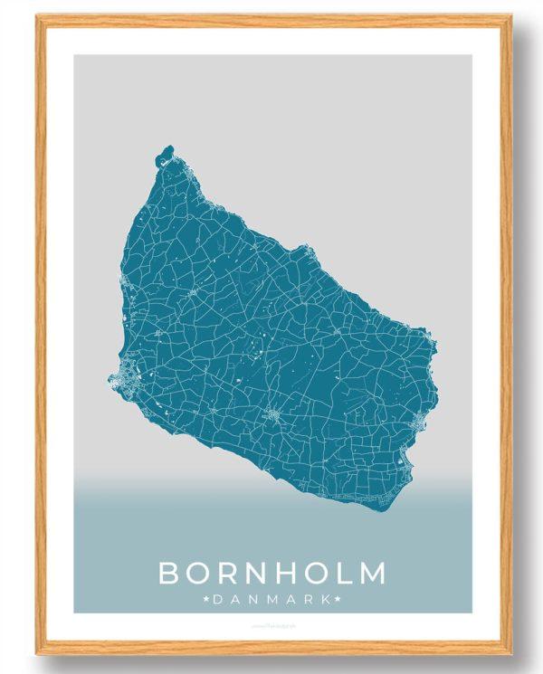 Bornholm plakat (blå)