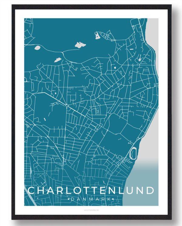 Charlottenlund plakat - blå
