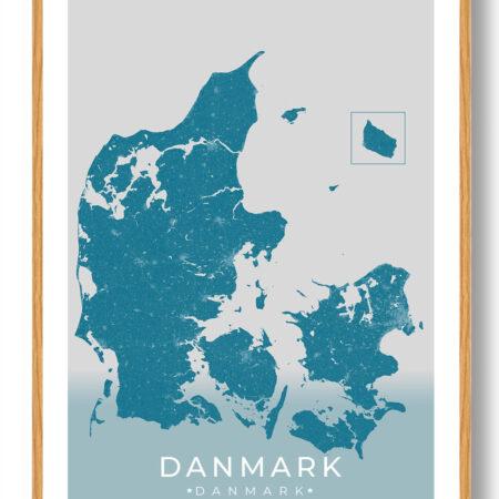 Danmark plakat - blå