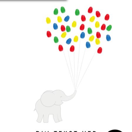 Elefant med balloner - Plakat til dåb - Fingeraftryk plakat