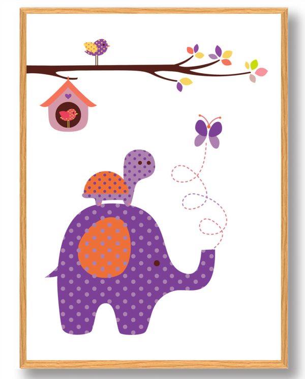Elefant og skildpadde - plakat