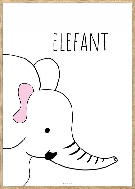 Enkel børneplakat med elefant
