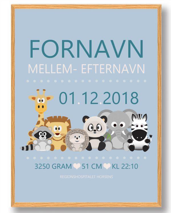 Fødselstavle med dyr (blå baggrund) - plakat