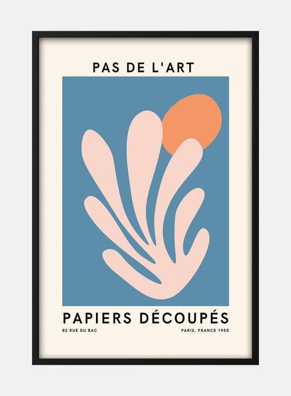 French Art Inspired Pink on Blue Plakat