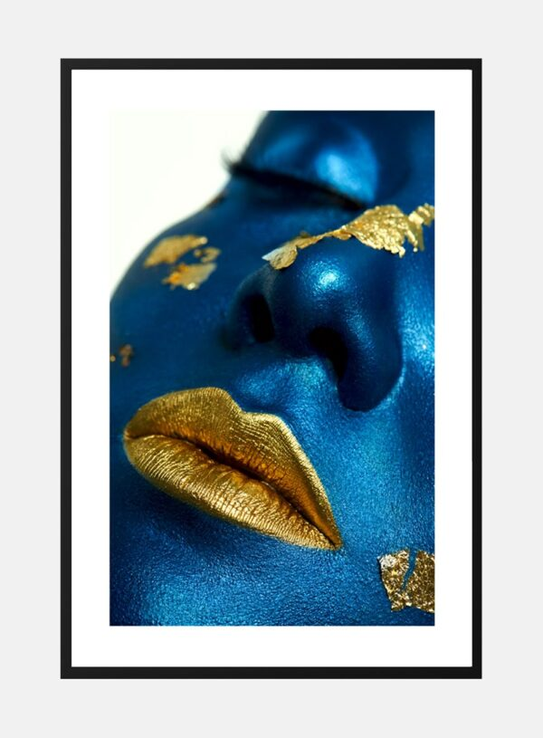 Golden lips on blue plakat