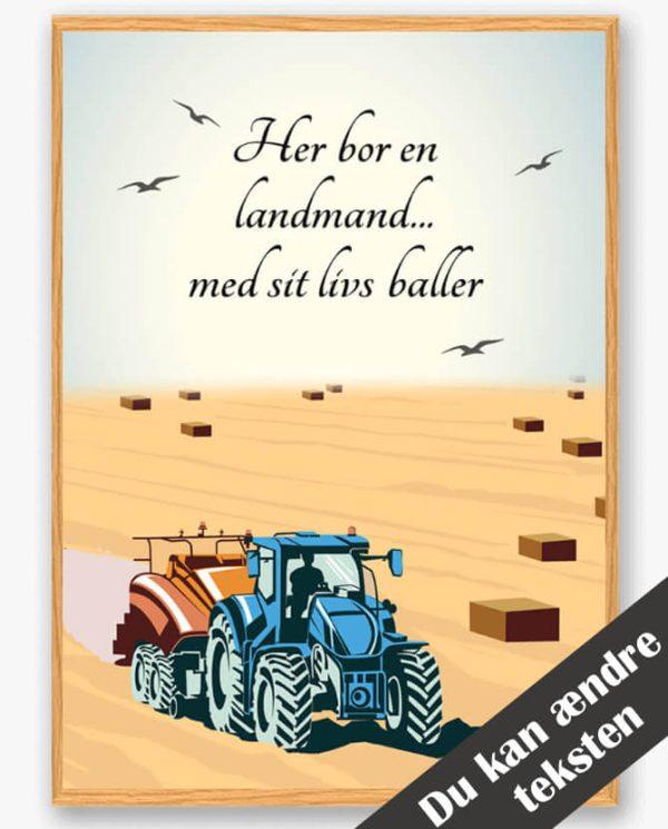 Her bor en landmand... (blå) - plakat