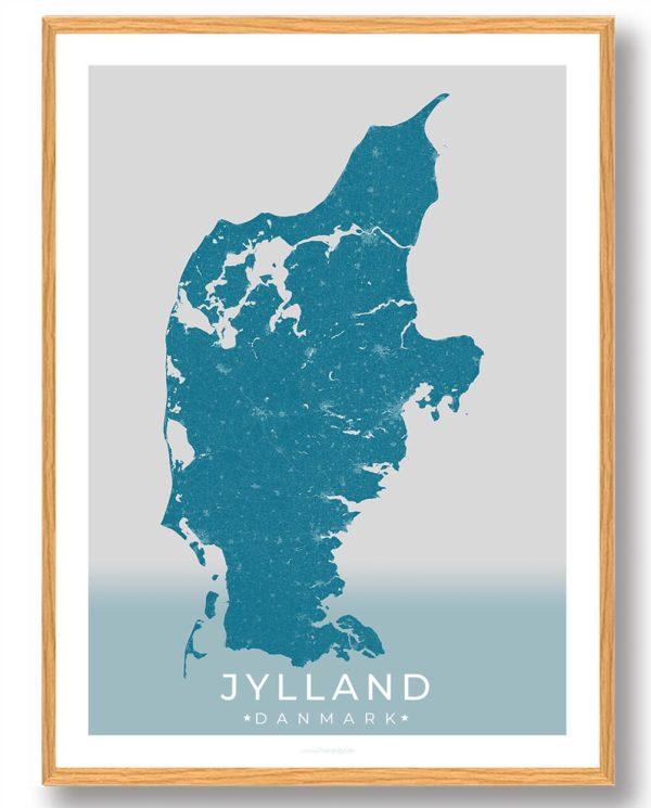 Jylland plakat - blå
