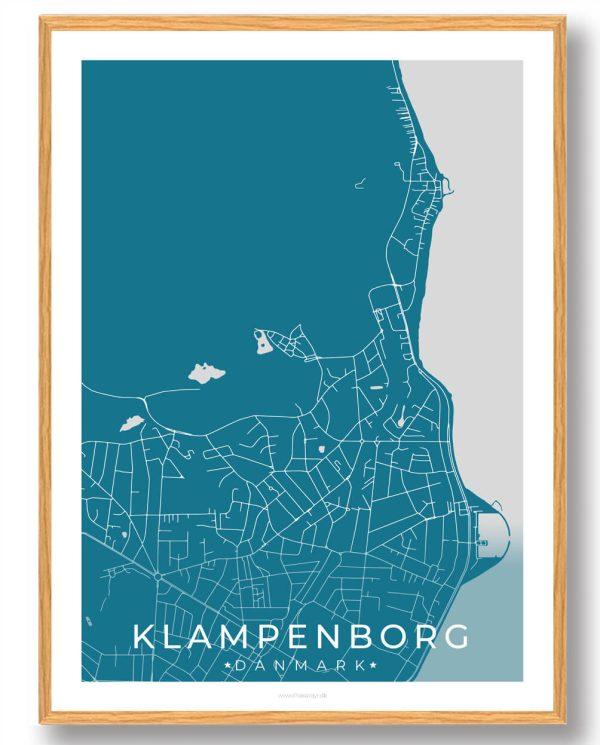Klampenborg byplakat - blå