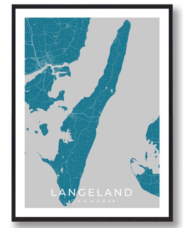 Langeland plakat - blå