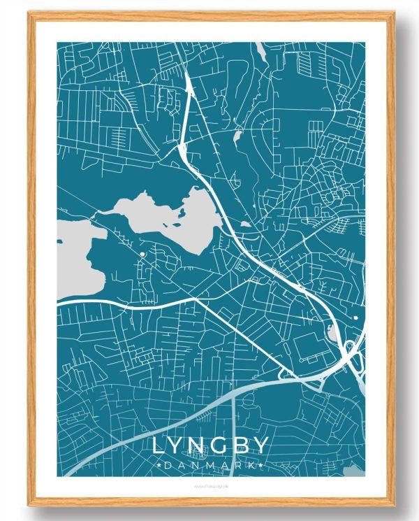 Lyngby byplakat - blå