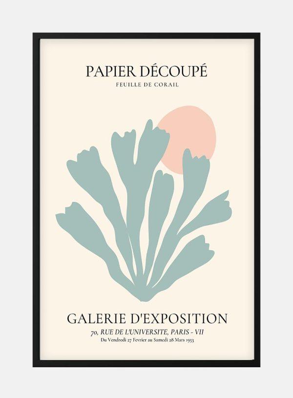 Pastel Blue Coral Decoupe Plakat