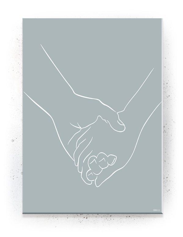 Plakat, Canvas, Akustik: Holding Hands - Blå / Lineart (Withered)