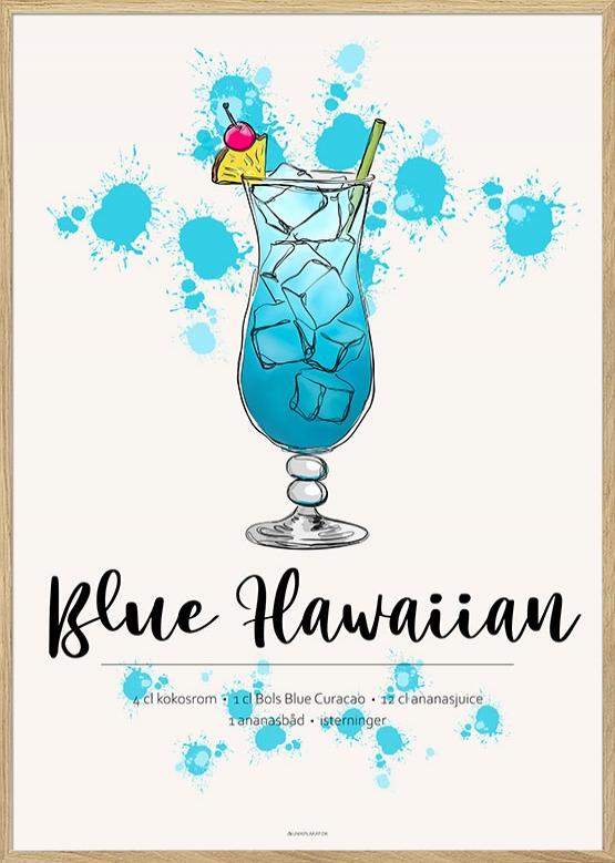 Plakat med Blue Hawaiian drink opskrift