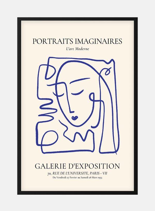 Portraits Imaginaires Blue Plakat