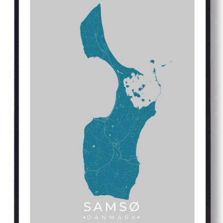 Samsø plakat - blå