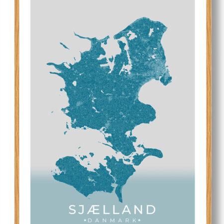 Sjælland plakat (blå)
