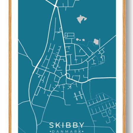 Skibby byplakat - blå