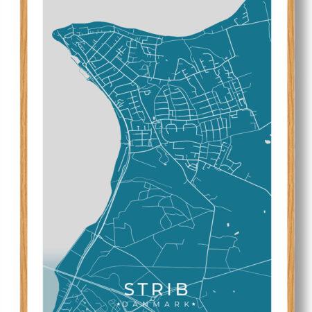 Strib plakat - blå