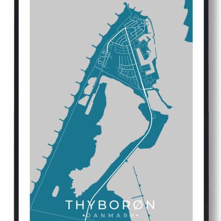 Thyborøn plakat - blå