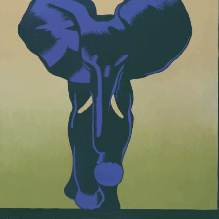 Zoo plakat - Blå elefant